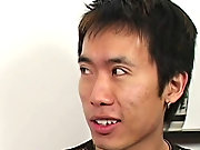 Billy gets a gallon of bang lotion all over that cute face of his asian men sucking men