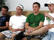 I got the guys to strip down to their underwear and start getting themselves hard while the porn played gay male group sex