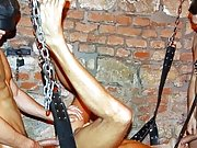 The sling serves as a punishing device where Marco, the gluteus maximus, is getting his ass split open by Adam and Mr Luky's cock male bondage an