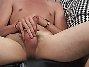 EMO guy Jesse jacks his rockhard cock all around his pad, then lays fail and splatters gobs of creamy Cum across his tummy gay masturbation for men