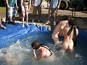 these poor pledges had to play blind folded in this hole in the ground filled with water male breasts groups