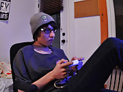 Carson comes in to disturb his wonderful geeky boyfriend playing his games console my first time gay sex wit