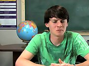 Jeremy Sommers is seated at a desk and an interview is being conducted with this sweet young gay twink pornstar first hugh gay cock at Teach Twinks