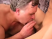 He enjoyed being facefucked around the strong young stud till the cock was hard enough to enter the mature body from the other side mature gay porn s