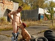 The rail in the service of balls licking and gay dick sucking ends up in touch-and-go threesome action where this military gay sex scene turns a soldi